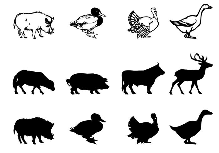 Boerderij dierlijke borstels silhouetten pack