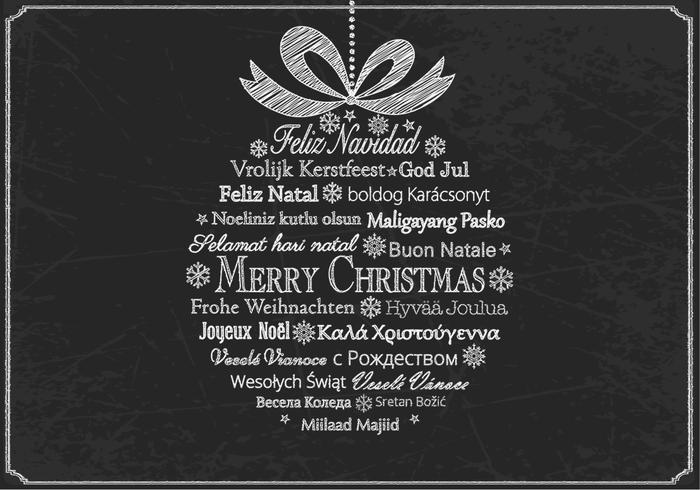 Ornement de Noël multilingue en forme de craie psd