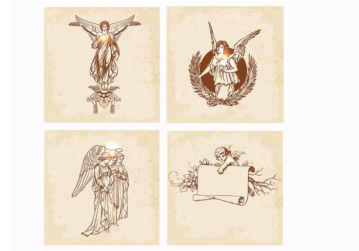 Escovas de anjo desenhadas à mão e PSD Pack