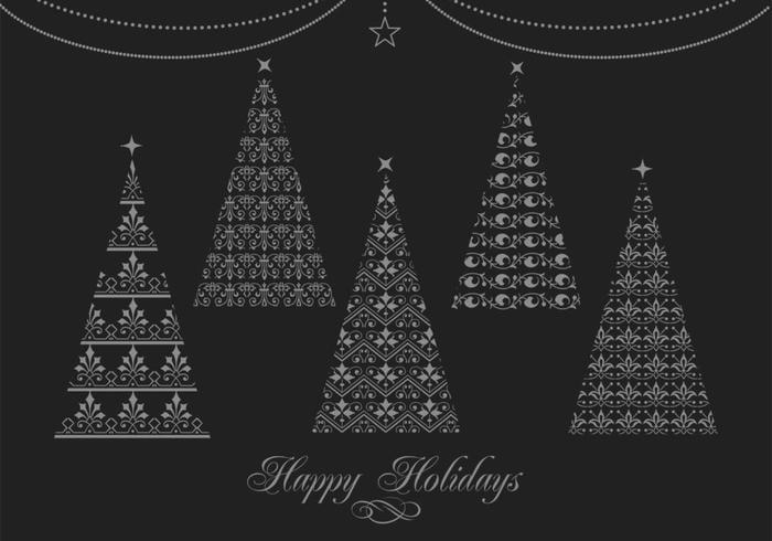 Pinceaux décoratifs pour arbres de Noël et arrière-plan PSD