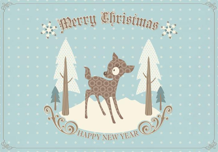 Retro Deer Christmas Card PSD