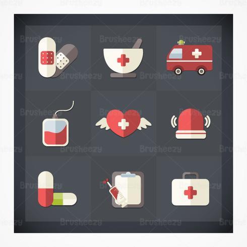 Pacote psd de ícone médico plano