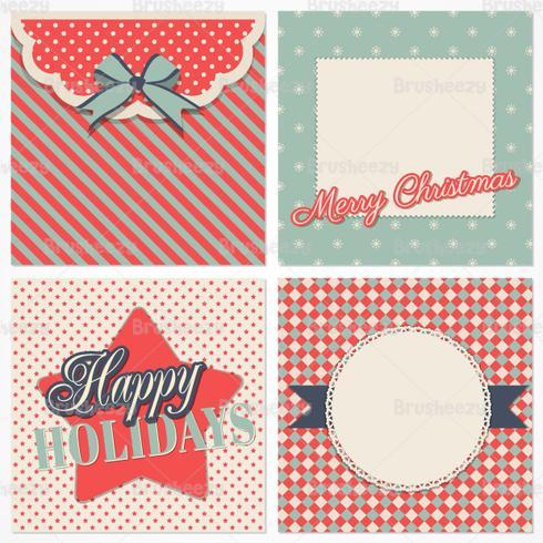 Tarjeta de Navidad Retro PSD Pack