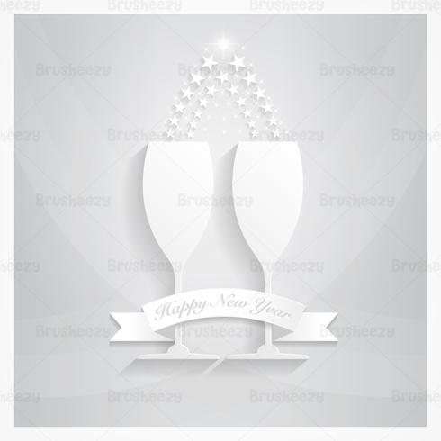Silver Champagne New Year PSD Wallpaper