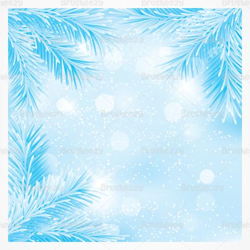 Blue Christmas Pine Branches PSD Background