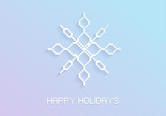 Pixel snowflake holiday psd background