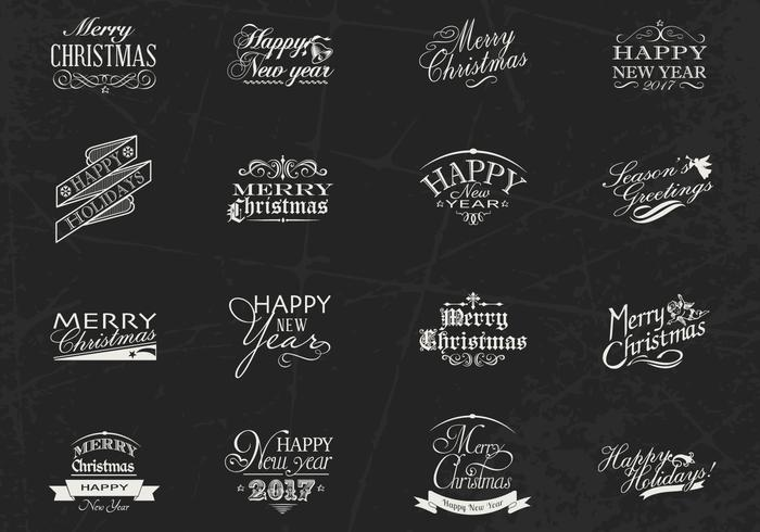 Chalk Drawn Christmas and New Year Label Brushes & PSD Pack
