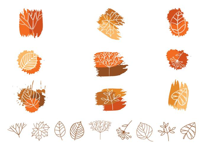 Outlined Leaf and Plant Brushes and PSD Pack