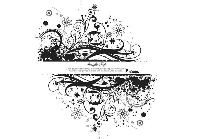 Banner floral grunge noir psd