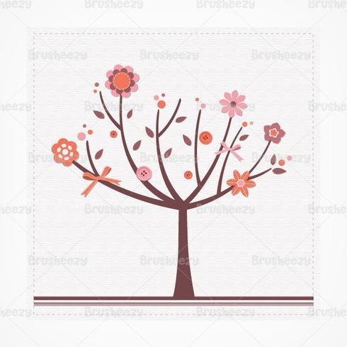 Libro de recuerdos Floral Tree PSD