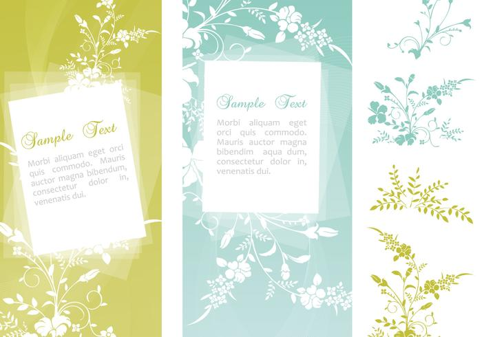 Swirly Floral Banner PSD's en Flower Brush Pack