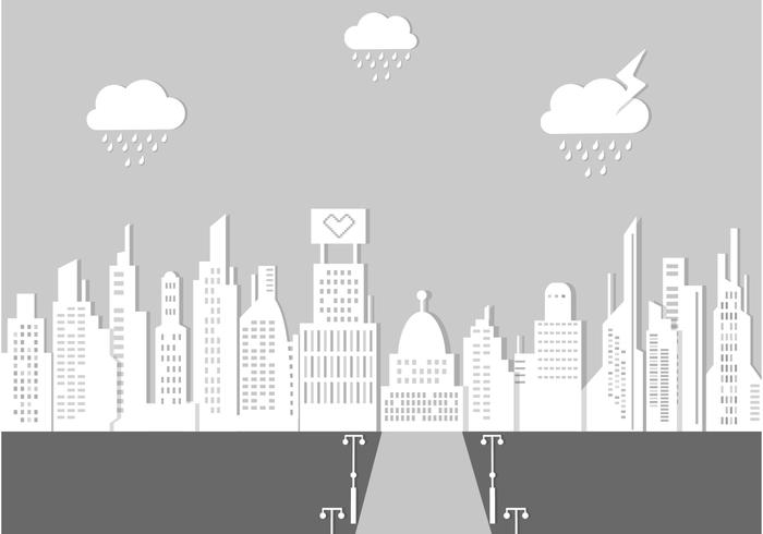 Rainy City Landscape PSD Background