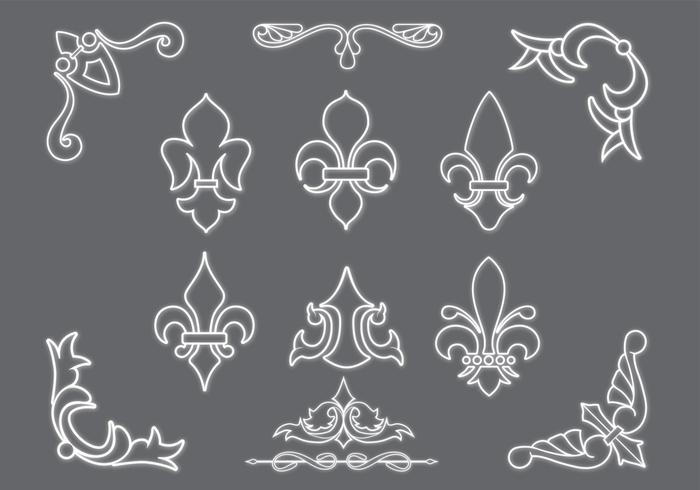 Fleur De Lis Brushes and Ornaments Pack