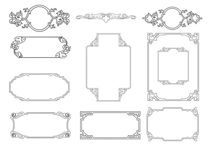 Gekleurde Ornamental Frame Borstels Pack