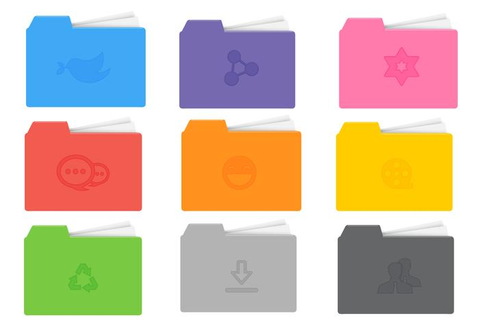 Carpeta de iconos brillante PSD Pack