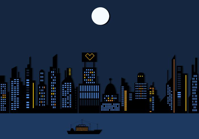 Night Time City Skyscraper Wallpaper PSD