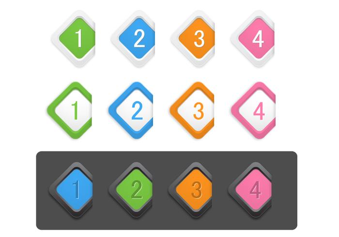 Icono numerado de diamante PSD Pack