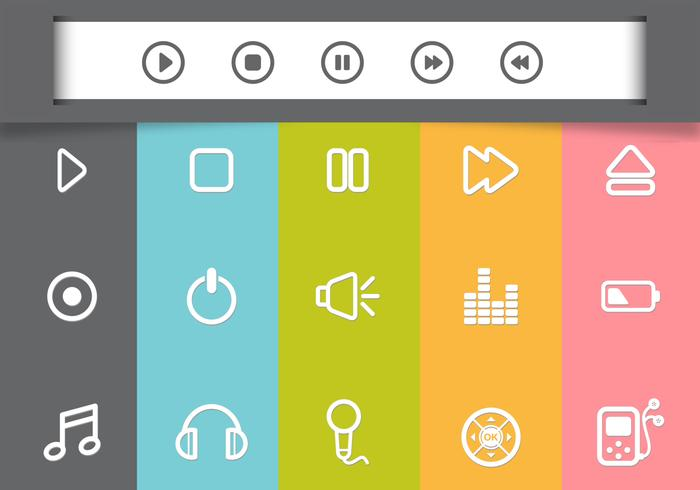 Media player psd icons packen