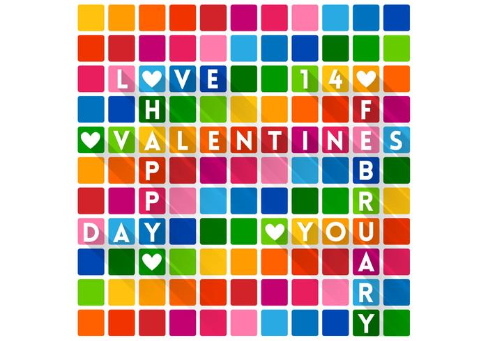 Colorful Crossword Valentine's Day Wallpaper PSD