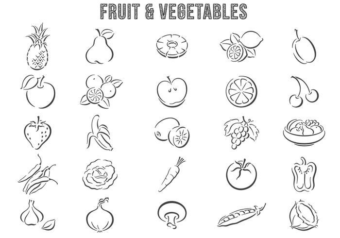 Hand getekende Fruit en Groente Borstels Pack