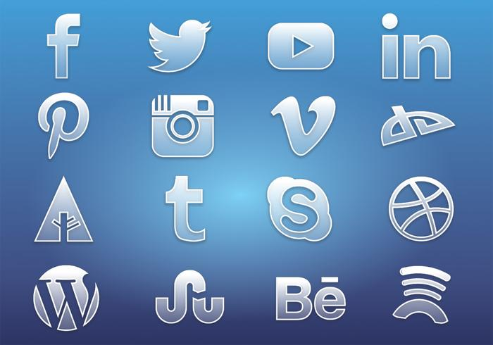 Vidrio Social Media Icons PSD