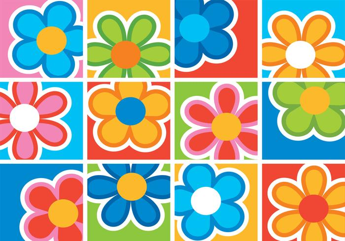 Bright Playful Flower Background PSD Pack