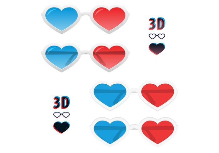 Pacote PSD de óculos de coração 3D