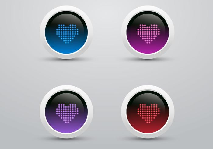 Digital LED Herz Icon PSD Pack