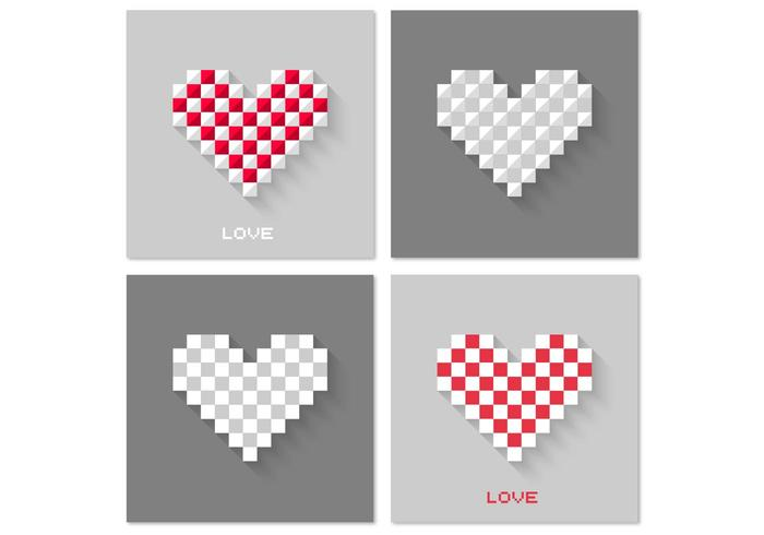 Pixel heart psd background pack