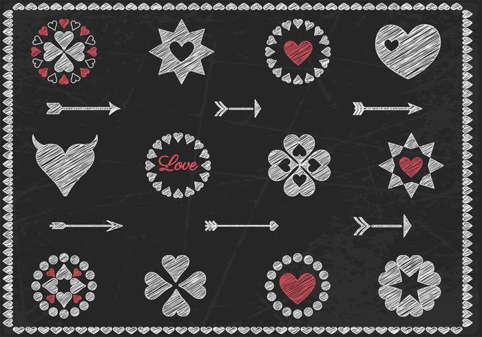 Chalk Drawn Heart Brushes and Arrow Brush Pack