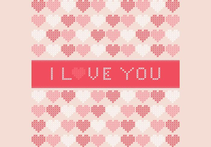 Cross Stitched I Love You Contexto do PSD