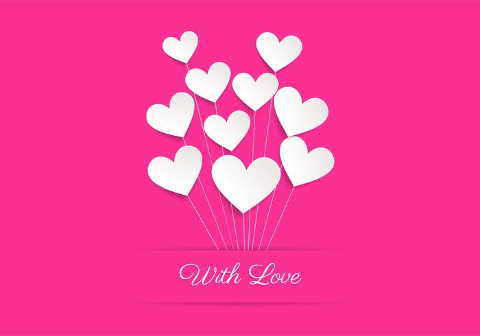 Pink Heart Balloon Love Contexte PSD