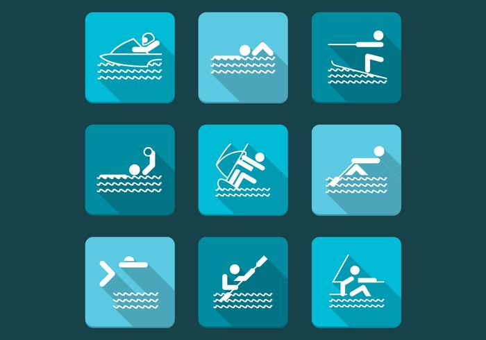 Waterpenseelborstels en Sport Icon PSD Pack