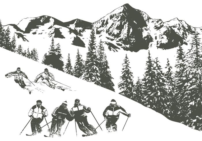 Schnee Skifahren Pinsel Pack
