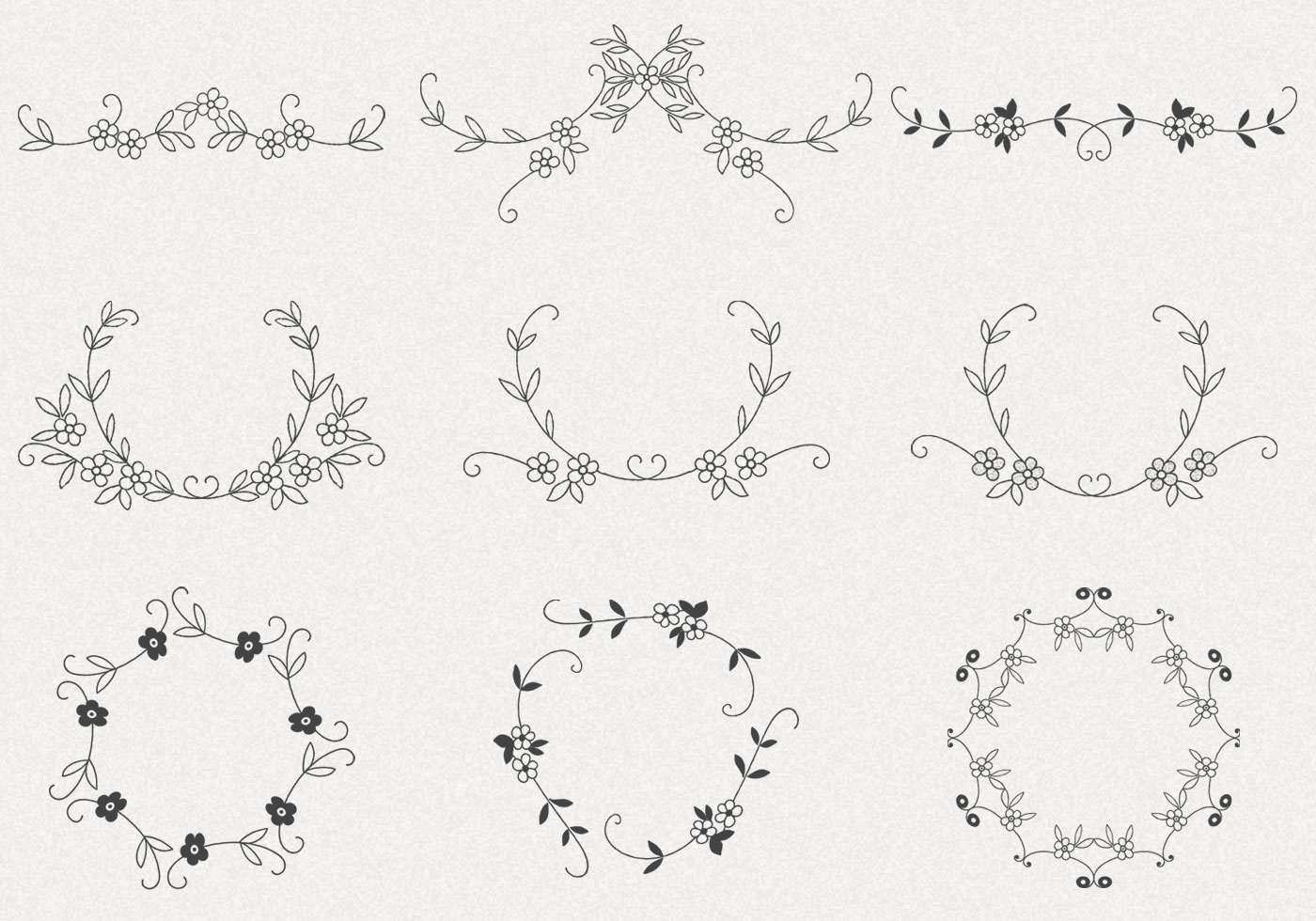 Hand Drawn Flower Frame Brushes Pack Free Photoshop Brushes At