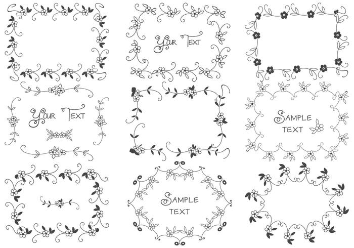 Hand Drawn Floral Frame Brushes Pack