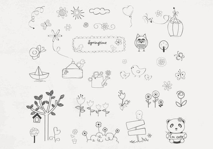 Hand Drawn Spring Brushes Pack