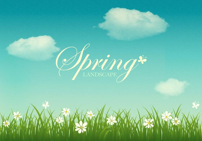 Textured Spring Landscape PSD Background