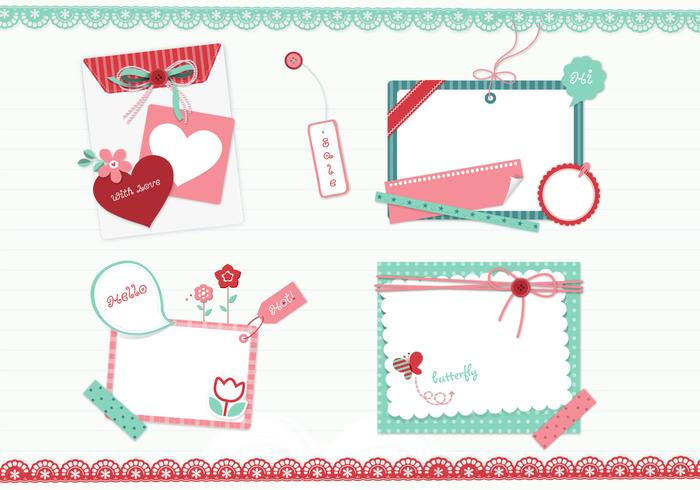Girly scrapbook elementen psd