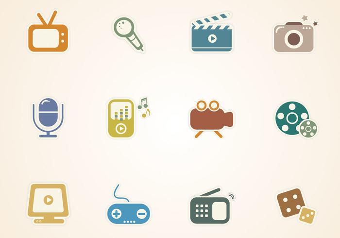 Multimedia Sticker Icons PSD