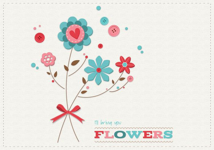 Scrapbook Flowers Card PSD