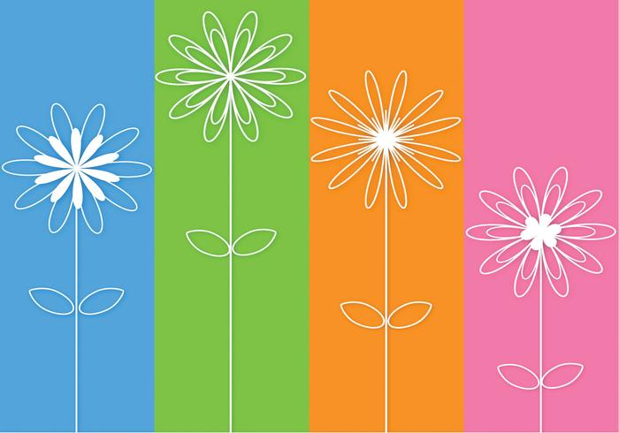 Abstract 3D Outlined Flowers PSD