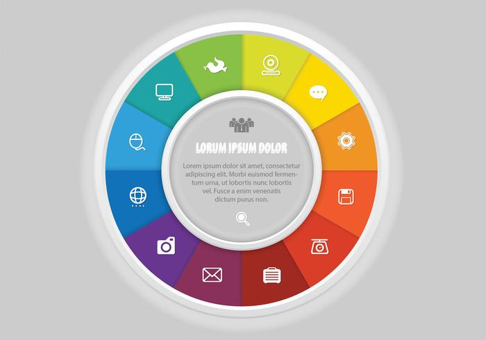 Colorful Wheel PSD with Icons