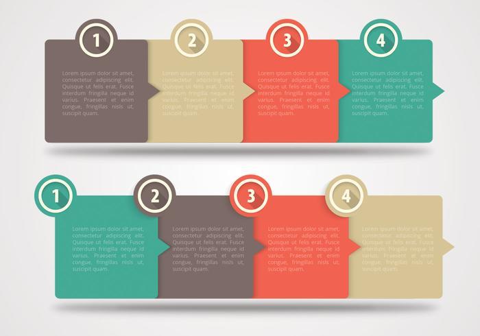 Quatre étapes Bannières horizontales PSD