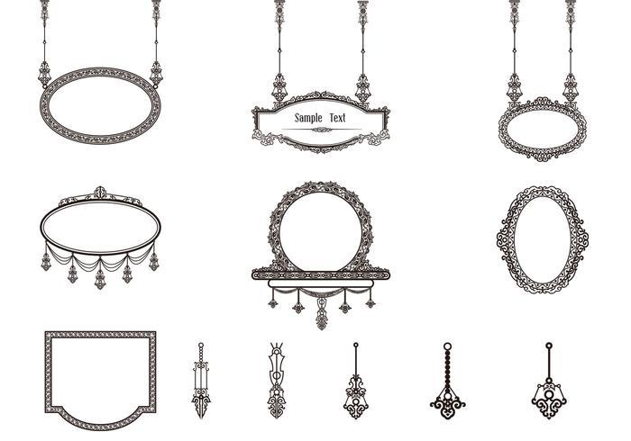 Cepillos decorativos del marco de la vendimia
