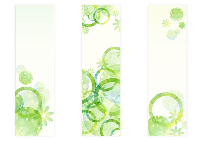 Färska gröna cirklar Floral Banner PSDs