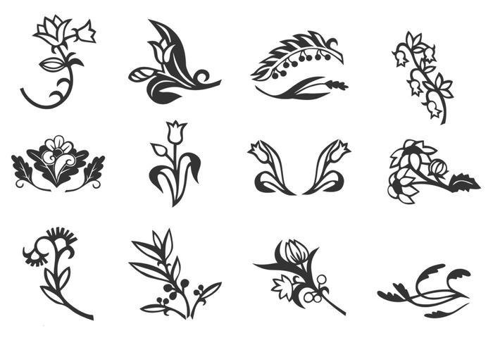 Brosses à motifs floraux