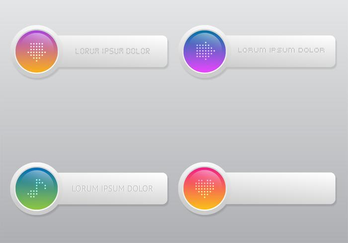 Bright Colored Button PSD Set