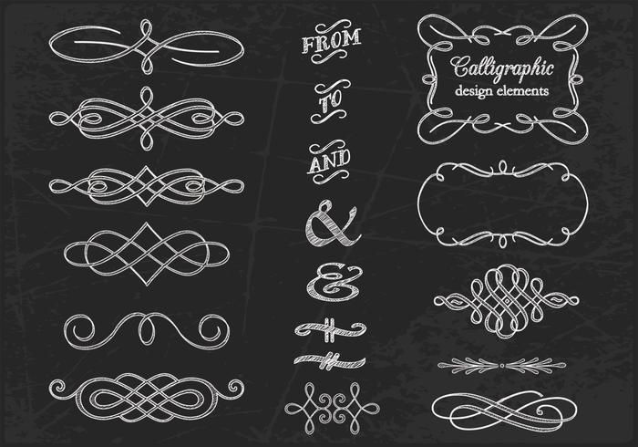 Chalk Drawn Calligraphic Ornament PSDs