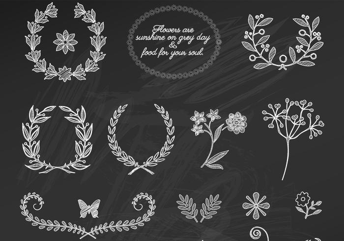 Chalk Drawn Floral Ornament PSDs